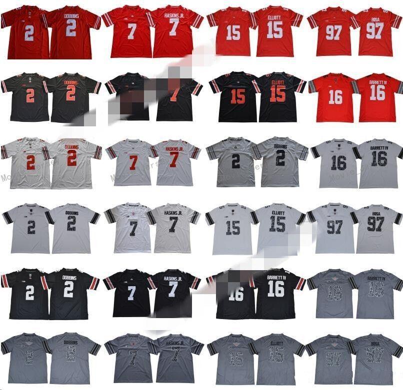 NCAA OHIO الدولة BUCKEYES 2 JK Dobbins جيرسي الرجال كلية كرة القدم 7 Dwayne Haskins JR 15 Ezekiel Elliott 97 Joey Bosa Legend أحمر أسود أبيض