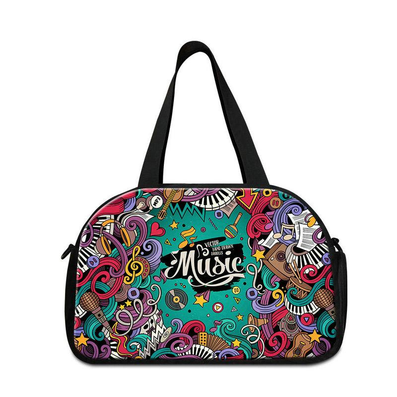 Medium Capacity Portable Shoulder Duffle For Traveling Women Men's Outdoor Overnight Bags Musical Note Printed Women Luxury Luggage Handbags