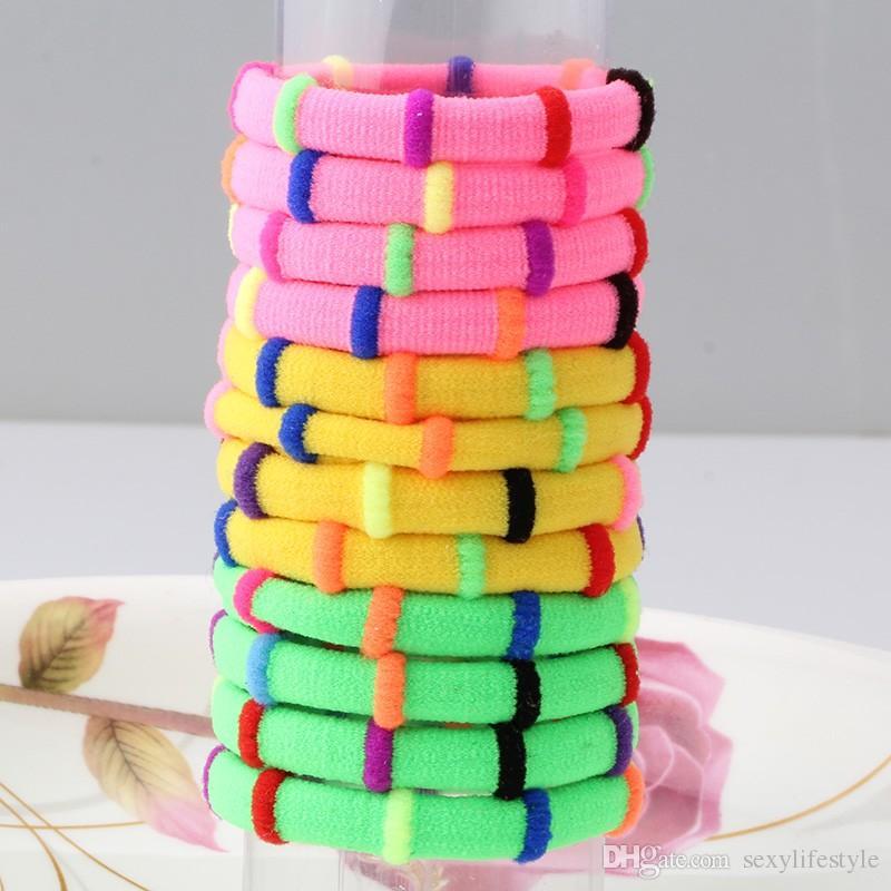 1 pack = 12 stücke Bunte Haarschmuck Gummi Stirnbänder Niedlichen Ring Gum für Haar Mädchen Elastische Haarbänder