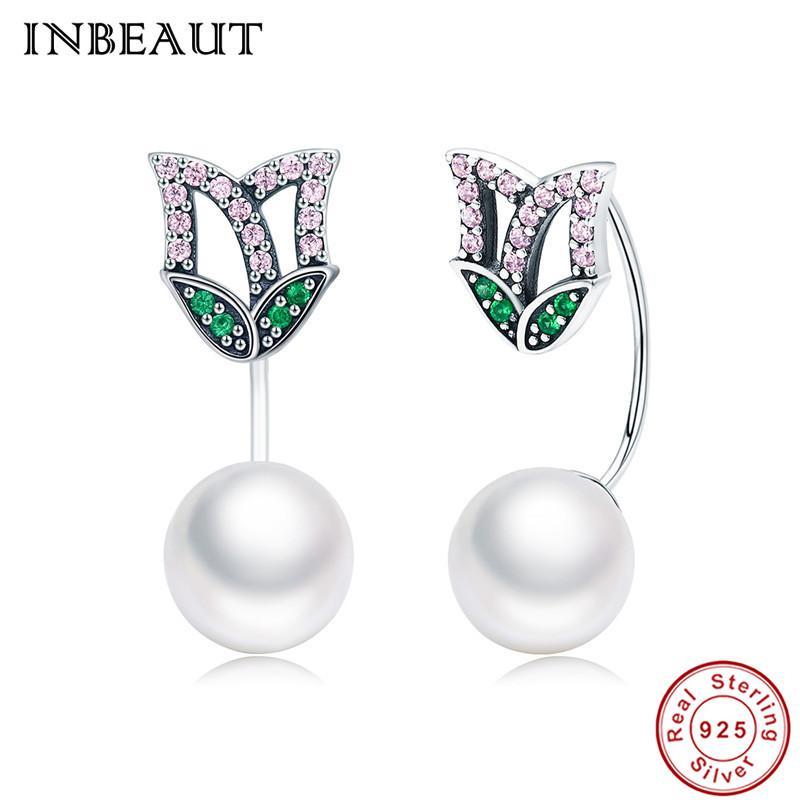 Venda Por Atacado mulheres na moda brincos de casamento 100% real prata esterlina 925 rosa verde zircão bonito fox pérola brincos para fêmea