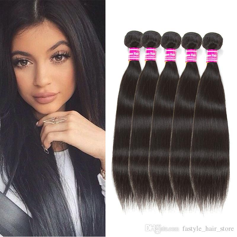 Fastyle Peruvian Straight Human Virgin Hair 5 Bundles Brazilian Wet and Wavy Human Hair Weaves Indian Malaysian Peruvian Hair Extensions