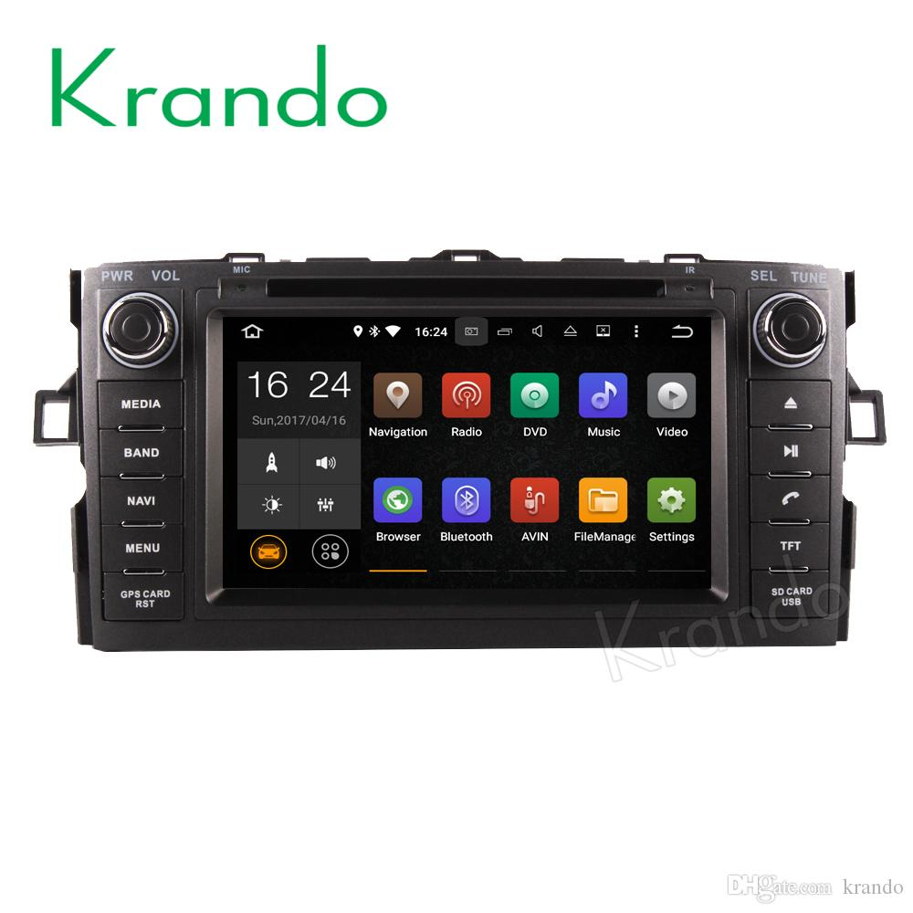 Krando Android 8.0 car dvd gps navigation for toyota auris 2007-2011 radio stereo player multimedia system WIFI 3G BT DAB+