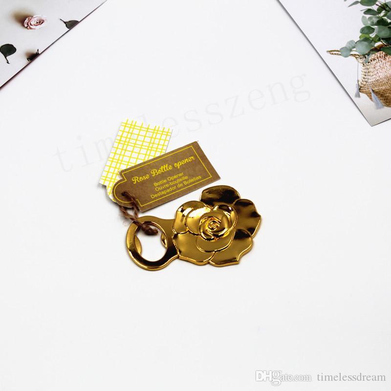 Apribottiglie a forma di rosa d'oro Apribottiglie a forma di fiore creativo rosa Nuovo arrivato in Europa e in America regalo di nozze Bomboniere per l'anniversario
