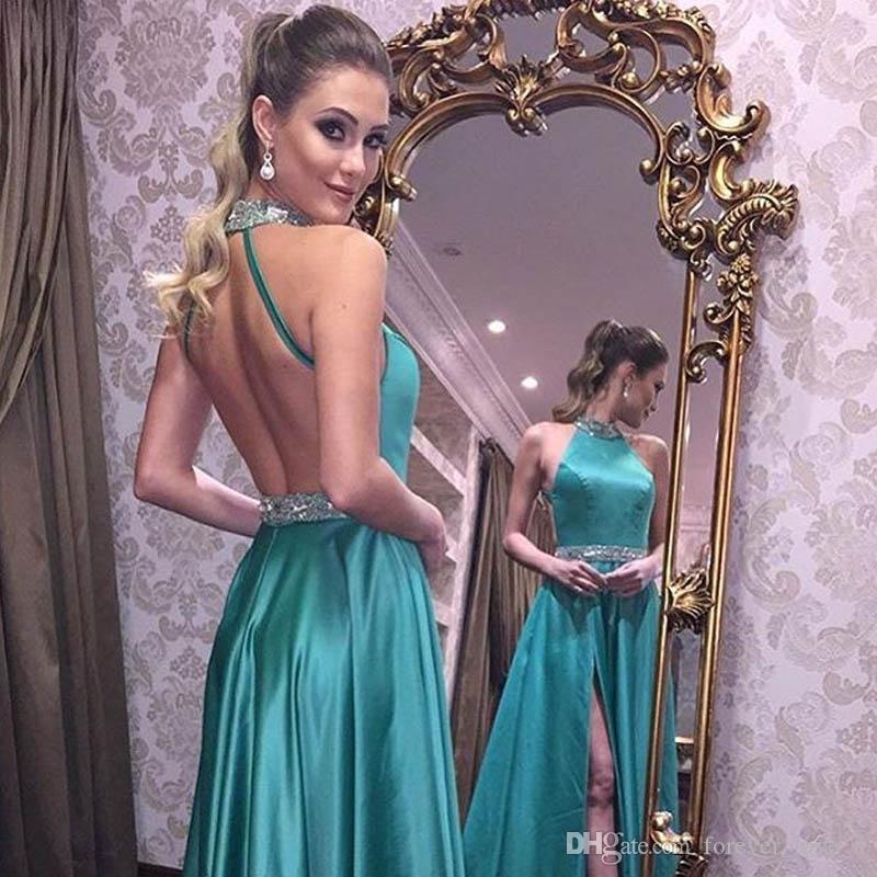 2019 Sexy Prom Kleider Neckholder Ärmellos Backless Abend Party Kleider Perlen Kristalle Verziert Formelle Kleidung mit Hohen Split