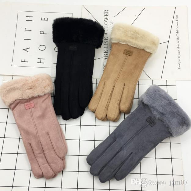 New Suede Single-threaded Mouth Split Gloves for Autumn and Winter Warm Outdoor Furry Student's Double-decker Thickened Lamb Suede Gloves