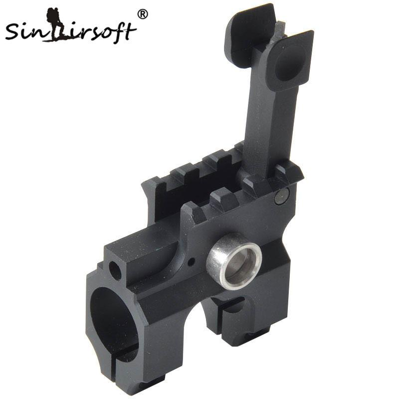 SINAIRSOFT Tactical Clamp-On Gas Block With Folding Front Sight CNC Aluminum Machined Iron For Rifle Hunting Accessories Black