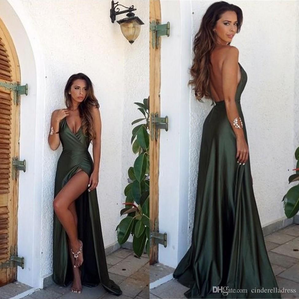 Großhandel 2018 Sexy Olivgrün Backless Split Elegante Einfache Prom ...