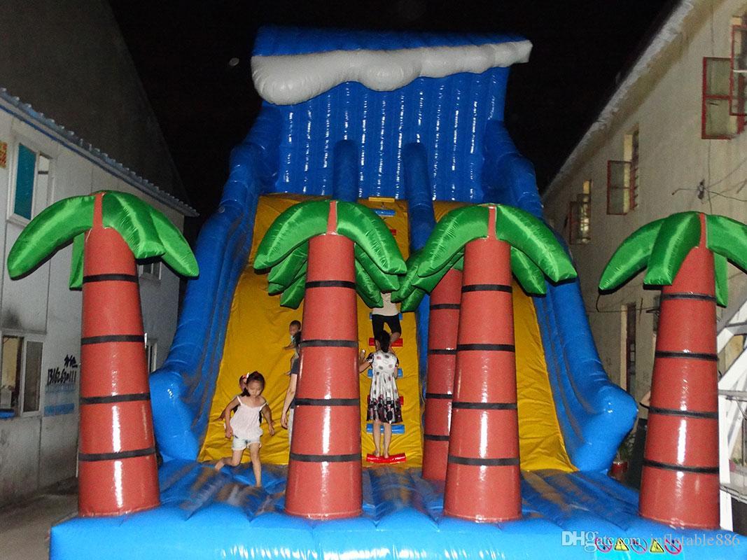 2018 coconut tree Inflatable slides for children water park equipment slide