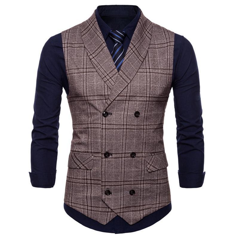 Formale Business Mens Dress Suit Westen Mäntel Plaid Designer Sommer offizielle Weste Mantel für Herren Outwear Mäntel Plus Größe 4XL S3183
