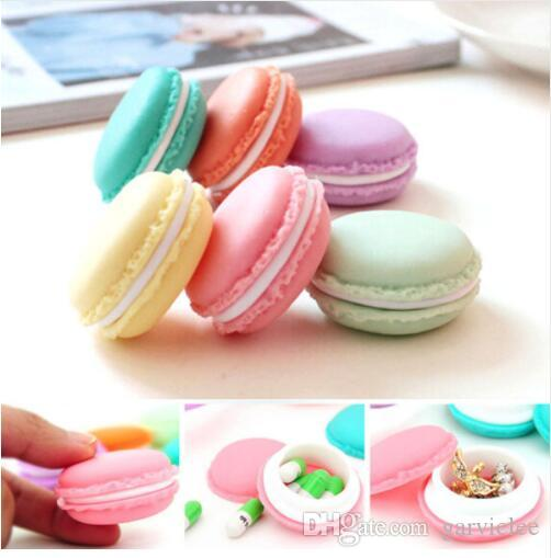 Portable Candy Color Mini Cute Macarons Jewelry Ring Necklace Carrying Case Organizer Storage Box Macaron box WS-48