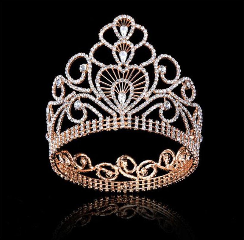 Alto enorme Tiara Queen Crown Crown Crown Full Round Boda Accesorios para el cabello Cristal Rhinestone Tocado Joyería Pieza de cabeza Pieza