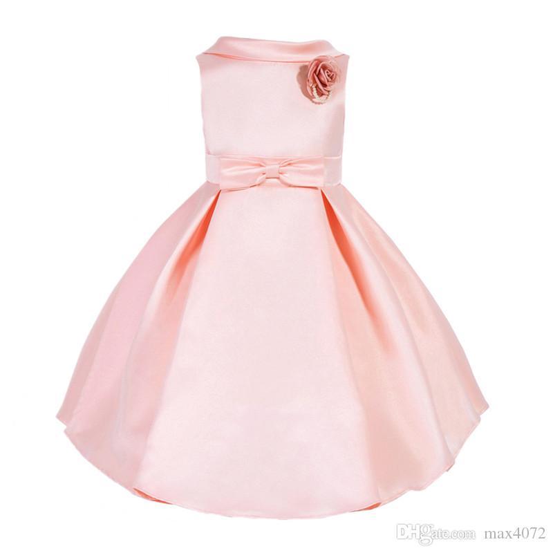Compre Vestido Elegante De La Muchacha Sin Mangas Noble Arco Sólido Europeo Vestido De Princesa Para 3 10yrs Niñas Niños Niños Fiesta Vestido De