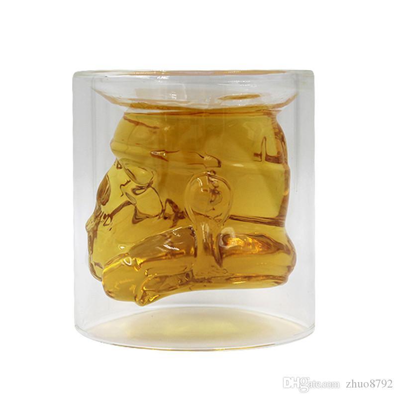 Creative Double layer glass warrior Mugs,Heat-resistant glass cup helmet Wars mug Drinking Coffee Water Mug,robot Helmet cup