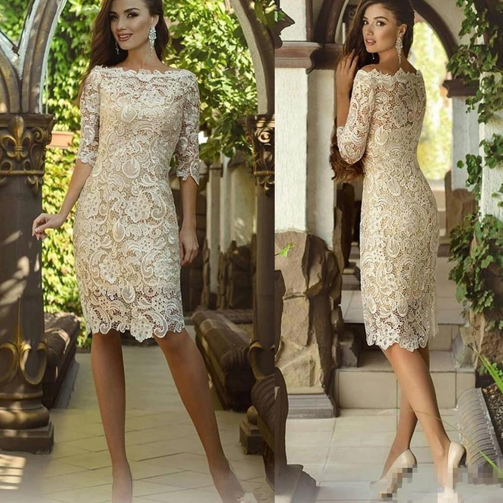 New Cheap Vintage Full Lace Champagne Mother Of The Bride Dresses Off Shoulder Half Sleeves Knee Length Custom Wedding Guest Evening Gowns