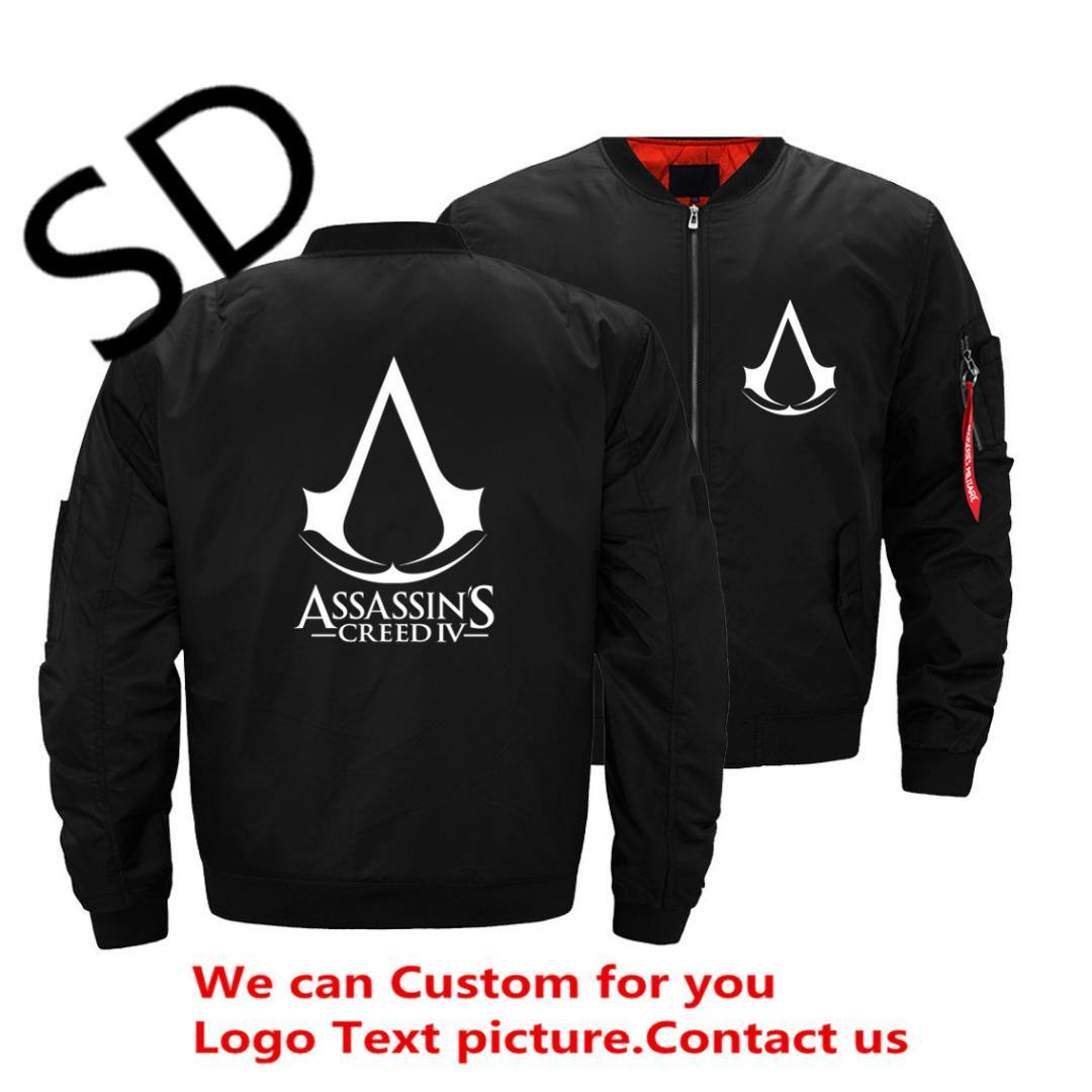 Dropshipping Assassins Creed Jacket 남자 여자 후드 티 스웨터 겨울 남자의 비행 윈드 브레이커 파일럿 야구 자켓