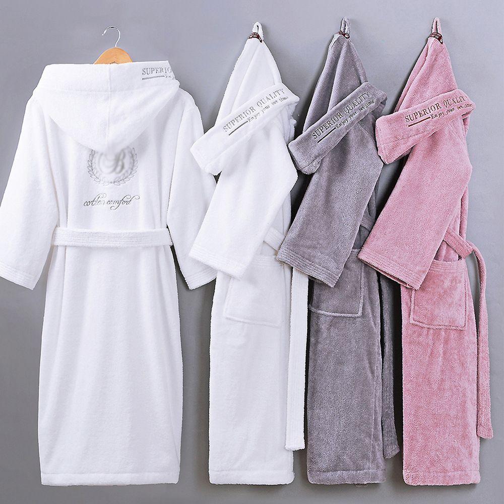 Otoño invierno grueso algodón puro color liso batas de baño bordado Unisex manga larga absorbente terry bata con capucha pijamas
