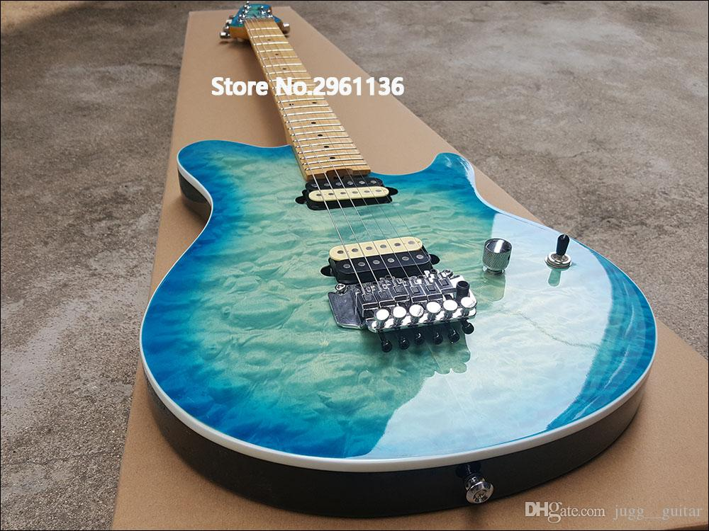 مخصص متجر إدوارد فان هالين عصابة الأزرق الأخضر مبطن القيقب الأعلى الغيتار الكهربائي القيقب الرقبة فلويد روز اهتزاز الذيل