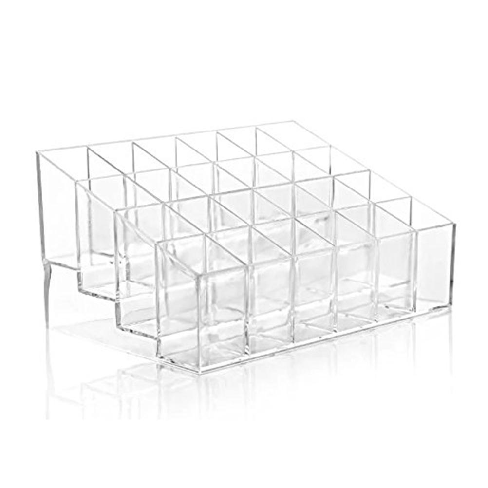 24 Divisions Clear Transparent Arylic Cosmetic Organizer Lipstick Brushes Holder Ladder Display Stand Makeup Jewelry Storage Box