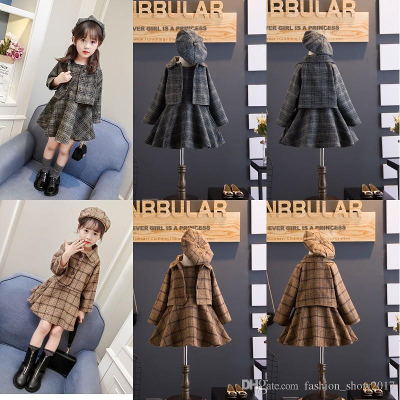 Koreli Çocuk Giyim Setleri Setleri Kız Sonbahar ve Kış Yün Yelek Etek + Coat Bereler Üç parça Suit