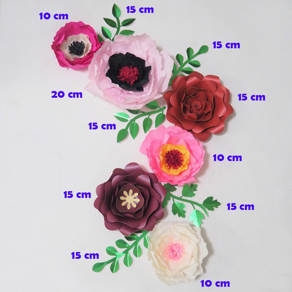 Dev Krep Kağıt Çiçekler Yapay Flores Yapay 6 adet + 5 Yapraklar için Düğün Olay Backdrop Bebek Kreş Sıcak Mix