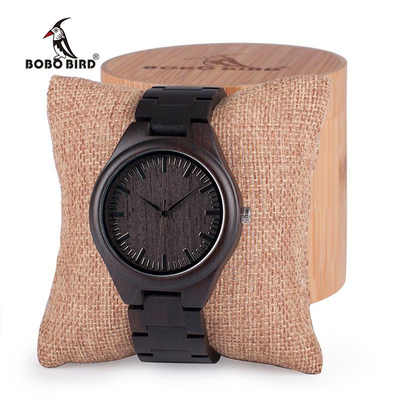 BOBO BIRD Mens Black Ebony Wooden Watches Wood WristWatch Links Causal Quartz relogio masculino in Gift Box custom logo S914