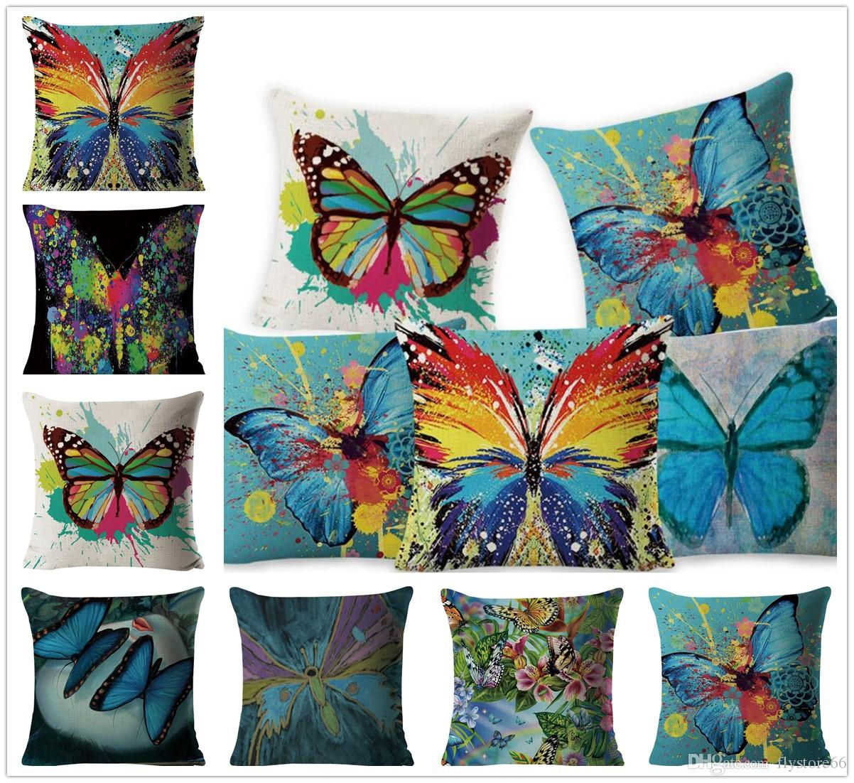 Hot Fashion Colorful Butterfly Pattern Pillow Case Cushion Cover Home Party Bed Decoration Gifts Free Shipping
