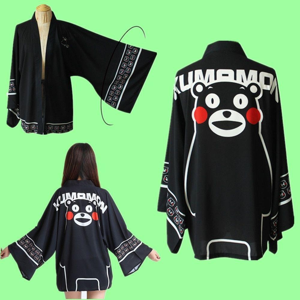 Bir Boyut Japonya Anime Kumamon Ayı Siyah Cosplay Unisex Kostüm Haori Şifon Bornoz Kimono Pijama Pelerin Ceket