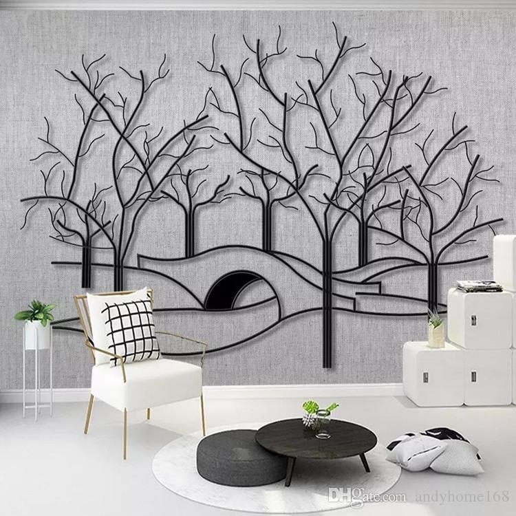 Nordic modern hand-painted leaves wallpaper living room TV background wall paper non-woven mural bedroom wall covering