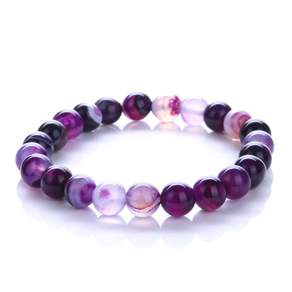 2018 À La Mode Bijoux Transfert de Chance Violet Bracelet Chakra Yoga Perles Pierre Volcanique 8mm Pierre Naturelle Perles Bracelets Pour Femmes