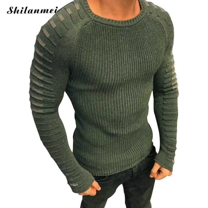 Gothic Sweater Men Top 2018 New Arrival Casual Pullover Men Autumn Long Sleeve Knitted Brand Male Sweaters Plus Size 3xl White