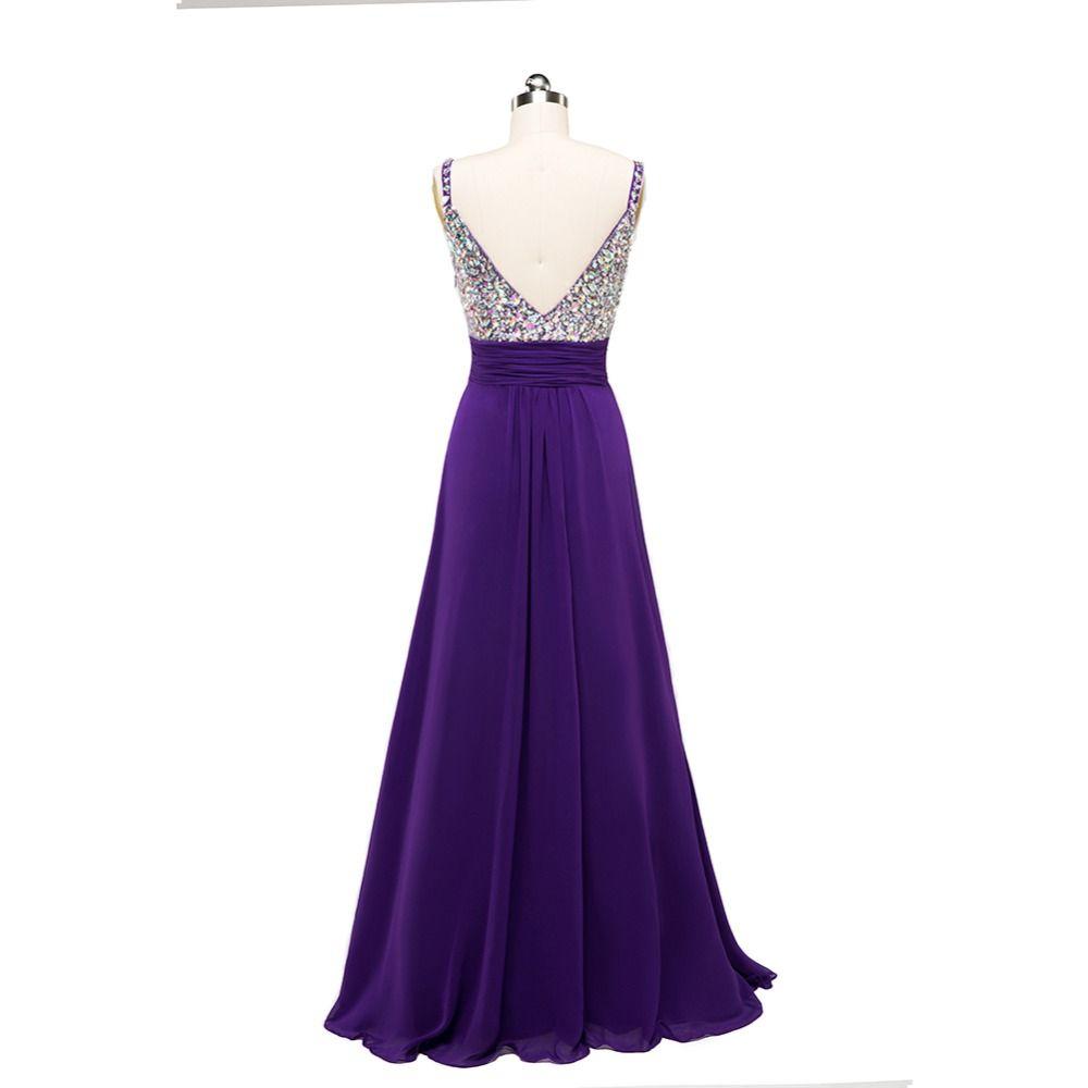 Großhandel Spaghetti V Ausschnitt Chiffon Abendkleider Lila 14 Perlen  Prom Kleider Bodenlangen Partykleider Elegant Von Sarawedding, 14,14 € Auf