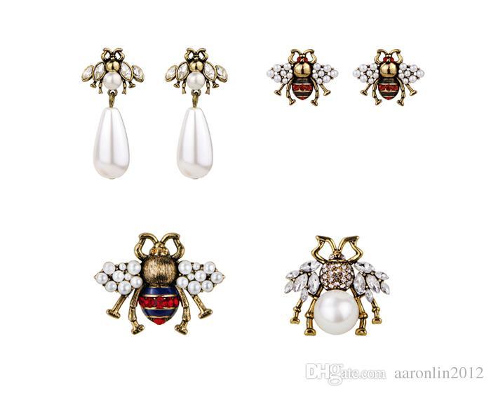 Las mujeres marca de moda abejas de cristal lindo del perno prisionero de las mujeres pendientes pendientes de cosecha de perlas de esmalte Brincos boda joyería de animales accesorios