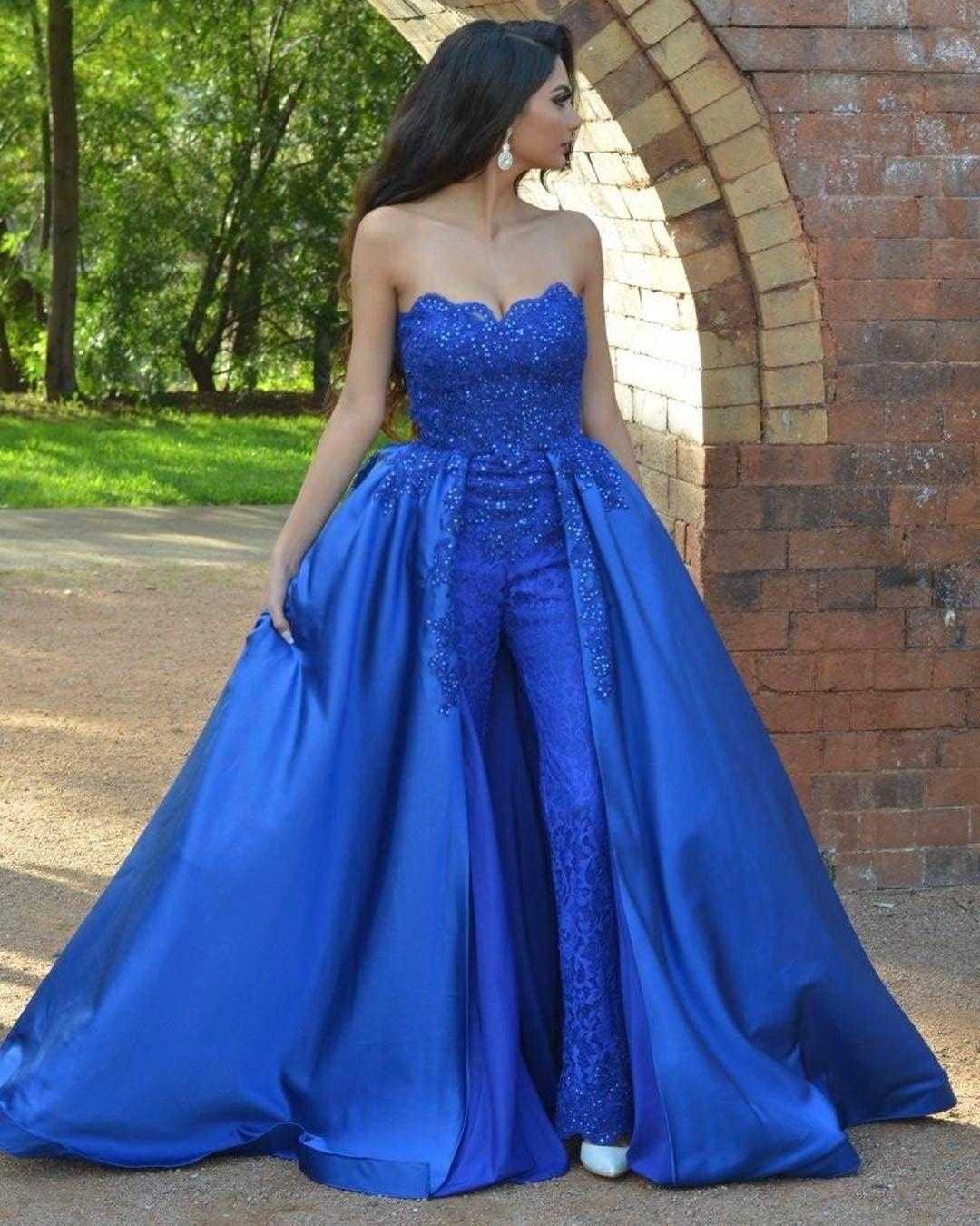 Königsblau Overalls Lace Prom Kleider trägerlosen Hals Perlen Überrock Abendkleider Vestidos De Fiesta Sweep Zug Appliqued Formal Dress