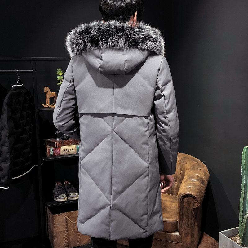 Großhandel 2018 Winter Schwarze Baumwolljacke 2018 Herren Park Warme Jacke Mehr Größe S XXL 3XL Herren Lange Kapuze Großer Pelzkragen Fashion Mantel