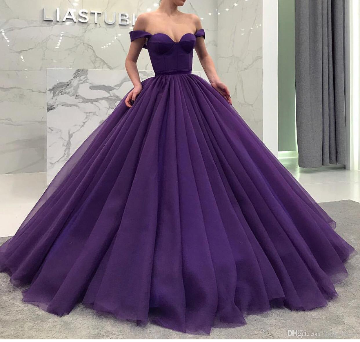 477f031391d Off The Shoulder Prom Dress Ball Gown 2019 Purple Princess Tulle ...
