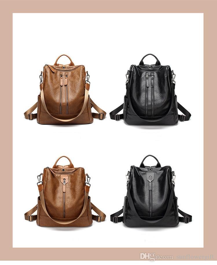 새로운 브랜드 디자인 여행 배낭 여성 정품 PU 가죽 메신저 학교 가방 패션 TripBags 방수 노트북 배낭
