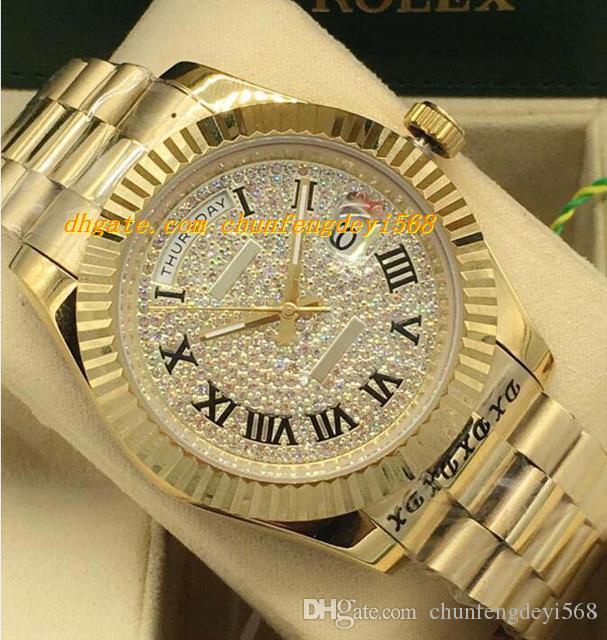 Luksusowe zegarki 2 Styl 18K Yellow Gold Diamond Dial 41mm Flud Wegel Automatyczny Moda Marka Zegarek Męski Zegarek