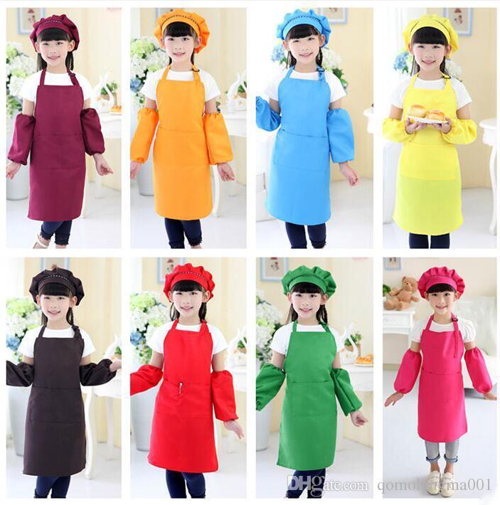 Venta caliente 10 colores entrega gratuita delantal infantil bolsillo artesanía cocina arte de hornear pintura cocina comedor babero bolsillo JD001