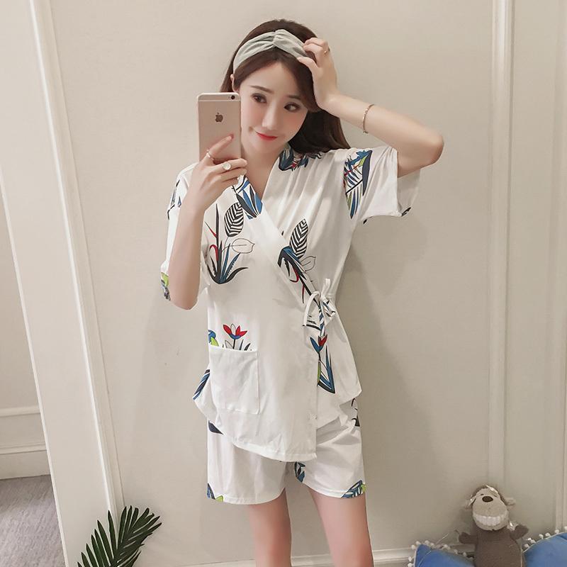 Floarl Casual Imprimir Suave Conjunto de Pijamas de Mujer Ropa de Dormir 2018 Camisas Tops + shorts Conjunto de 2 Piezas Trajes de Mujer Casual Conjunto de Pijama Floral