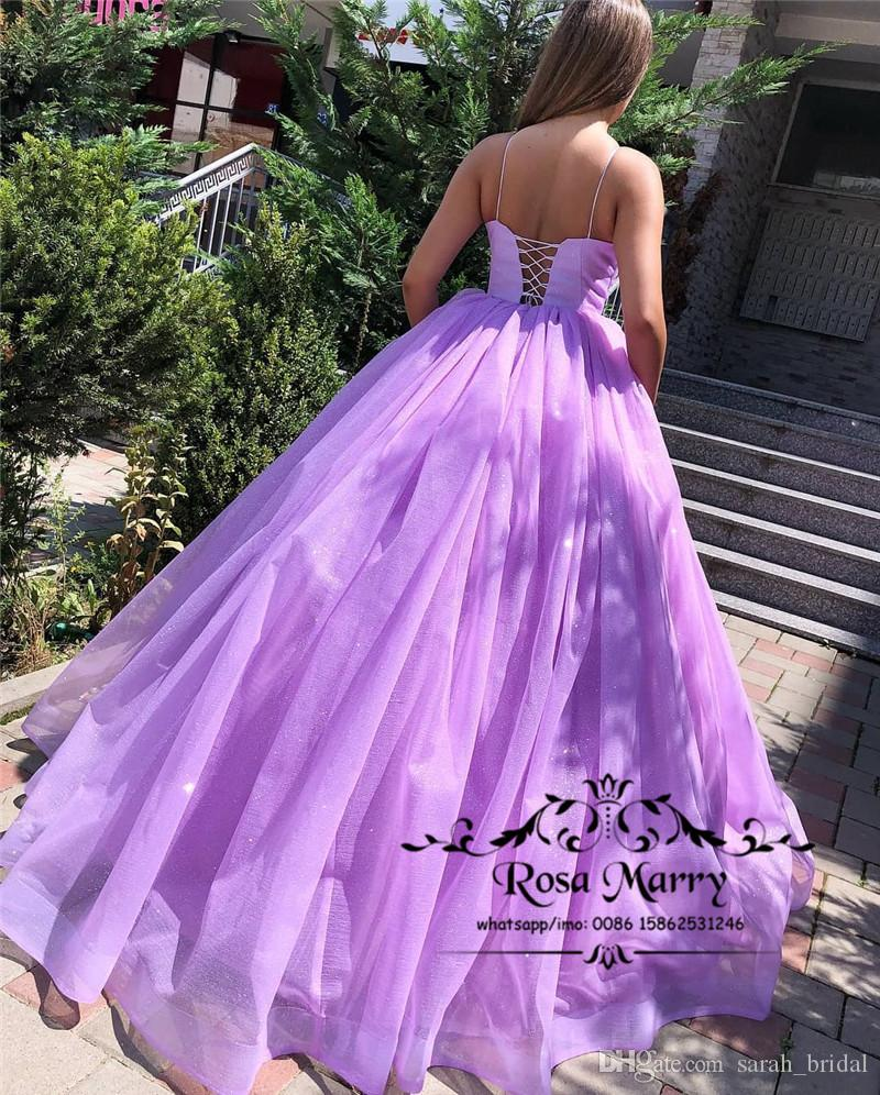 Princess Lavender Ball Gown Prom Dresses 2019 Plus Size Puffy Sequined  Tulle Cheap Arabic African Girls Quinceanera Evening Party Gowns Occasion  Wear ...