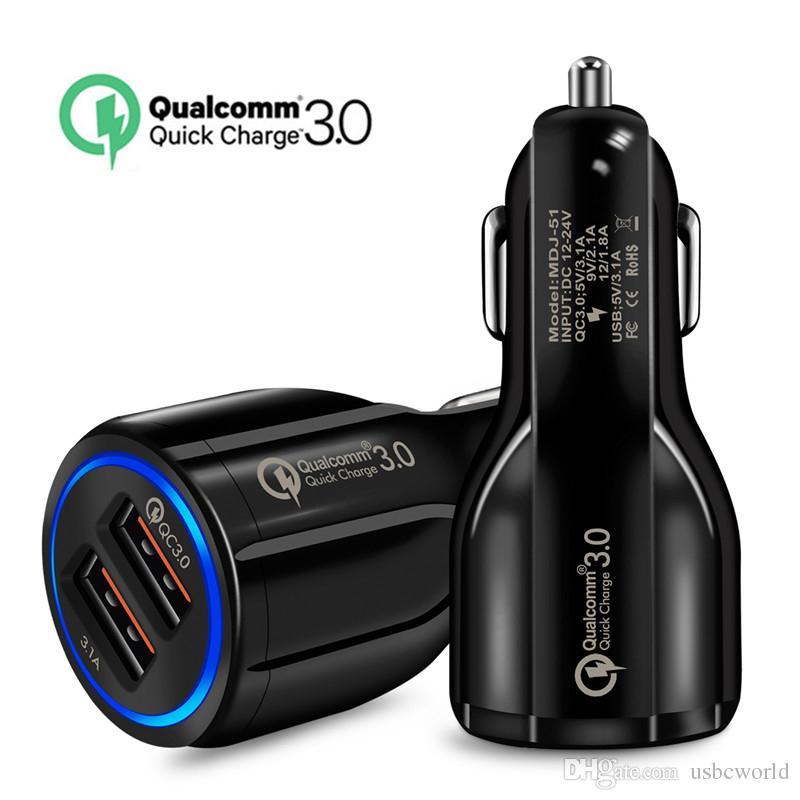 Высокое качество QC 3.0 6.2A Turbo Dual USB Автомобильное зарядное устройство QC3.0 Зарядное устройство для мобильного телефона Дизайн колыбели