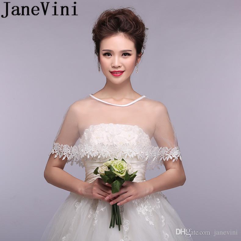 JaneVini Elegant White/Ivory/Red Bridal Shawls Wraps Wedding Cape Dress Womens Bride Lace Shrug Bolero Tulle Cheap Bridal Accessories 2018