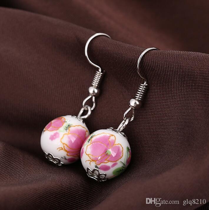 Boucles doreilles artisanales en perles de céramique faites main Bague en porcelaine bleue et blanche de style ethnique nouvelle arrivée 48pair / lot