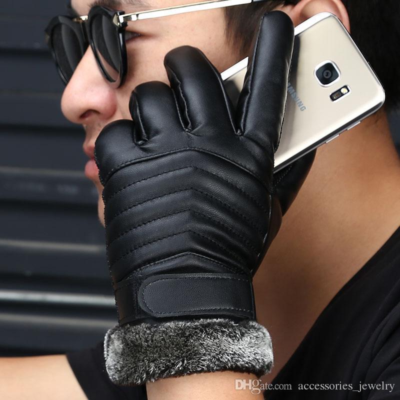 المصنوعة يدويا ذات جودة عالية كول قفازات تصميم الرجال في الهواء الطلق للدراجات النارية دراجة الدفء PU قفازات جلدية للبيع