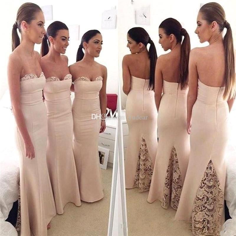 2019 Mermaid Sevgiliye Gelinlik Modelleri Dantel Aplikler Parti Dalma Geri için Elbiseler Abiye Custom made Düğün Konuk Abiye