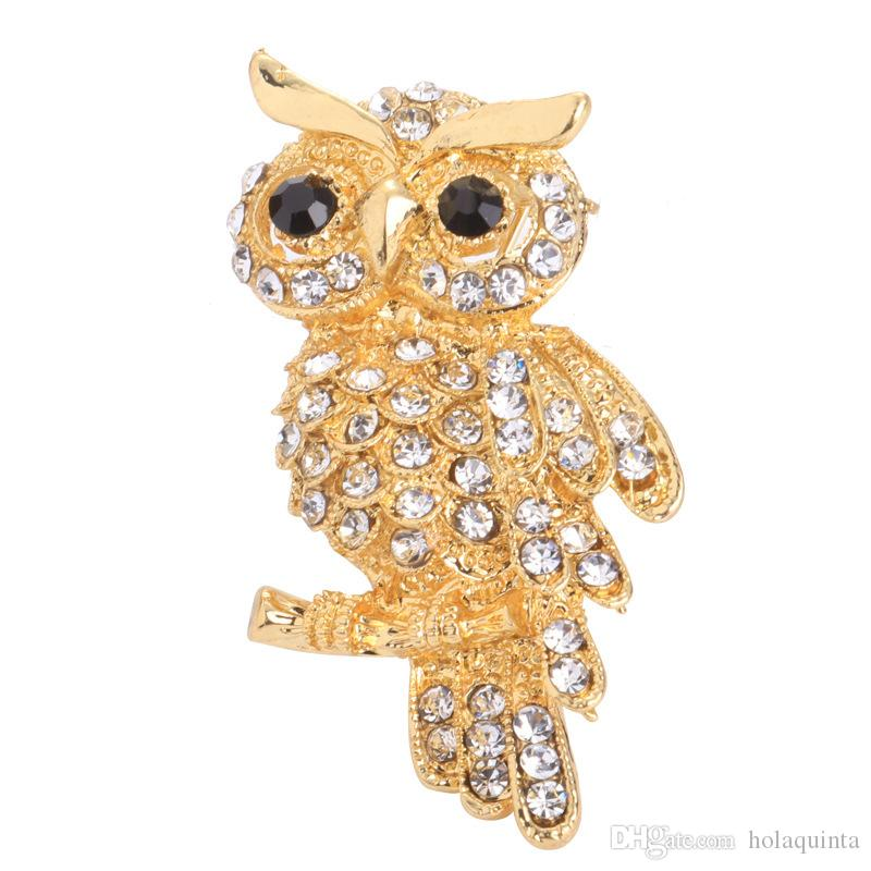 Gold Large Bird Owls Vintage Brooches Antiques Bouquet Owle Pin Up Broach Scarf Clips Jewellerys