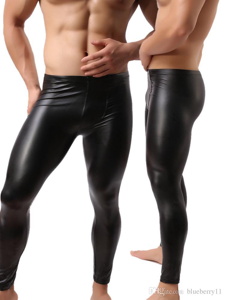 Moda Erkek Siyah Sahte Deri Pantolon Uzun Pantolon Seksi Ve Yenilik Skinny kas Tayt Erkek Tozluklar Slim Fit Sıkı Erkekler Pant M-2XL