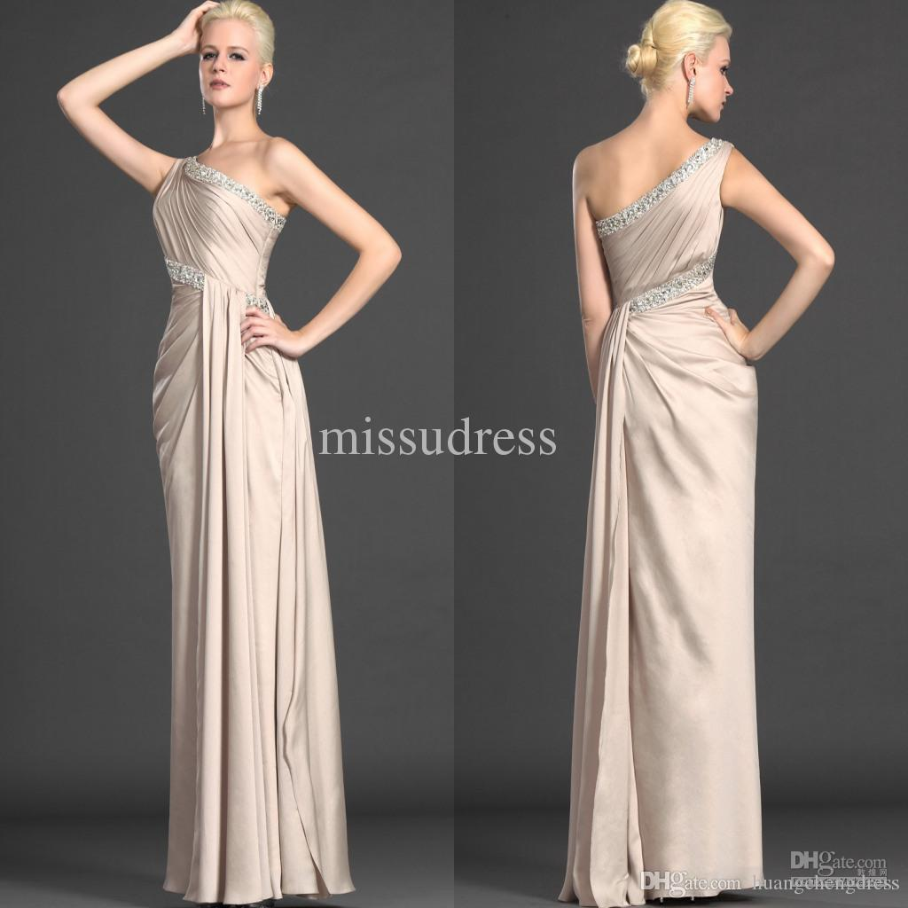 Champagne One Shoulder Rhinestone Beaded Satin Chiffon Graceful Mother of the Bride Dress Formal Evening Dress