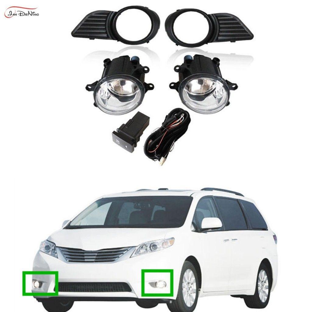 Carro Nevoeiro Para a Toyota Sienna 2011-2017 Limpar Front Nevoeiro Bumper Lâmpadas Kit (um par)