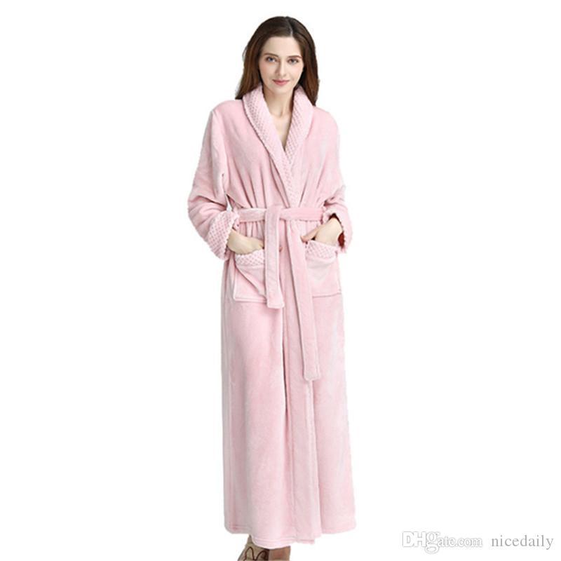 Roupão de banho para Homens e Mulheres, Super Macio Flanela Absorvente Toalha Robe Adulto Banho Wrap Nightwear Roupão com 2 Grandes Bolsos